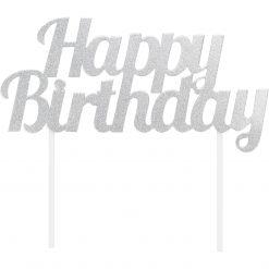 Anniversary House Happy Birthday Topper Silver