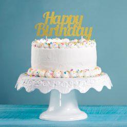 Anniversary House Happy Birthday Glitter Topper Gold