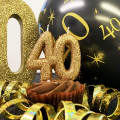 Anniversary House glitter kaars 40