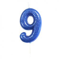 Anniversary House Glitter blue candle