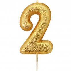 Anniversary House Glitter Candle Gold 2