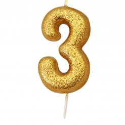 Anniversary House Glitter Candle Gold 3