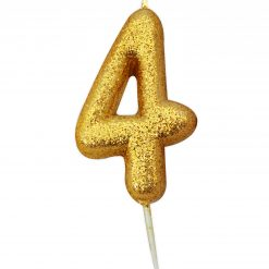 Anniversary House Glitter Candle Gold 4