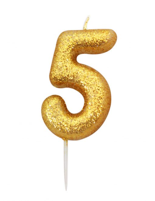 Anniversary House Glitter Candle Gold 5