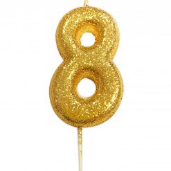 Anniversary House Glitter Candle Gold 8