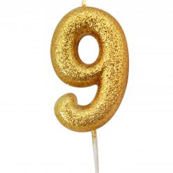 Anniversary House Glitter Candle Gold 9