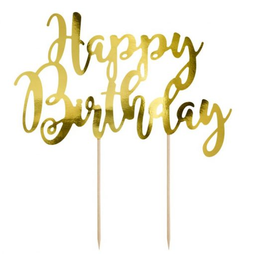 PartyDeco Cake Topper Happy Birthday Goud