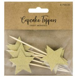 PartyDeco Cupcake Toppers Sterren Goud