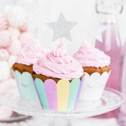 PartyDeco Cupcake Toppers Sterren Zilver