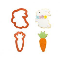 Decora Plastic Cookie Cutter Set Bunny & Carrot