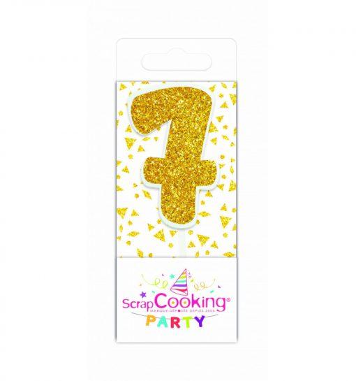 Scrapcooking mini kaars goud nummer 7
